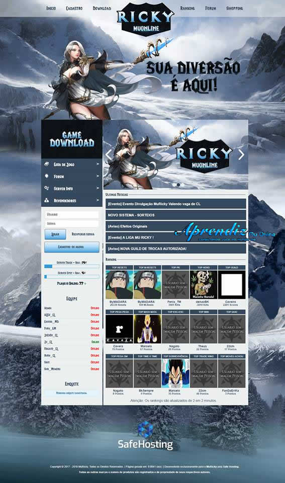 Web Effect Erick Master MuRick - Mu Online - Criar servidor de  Mu Online pirata, Portal de Mu Online aprendiz mu online .