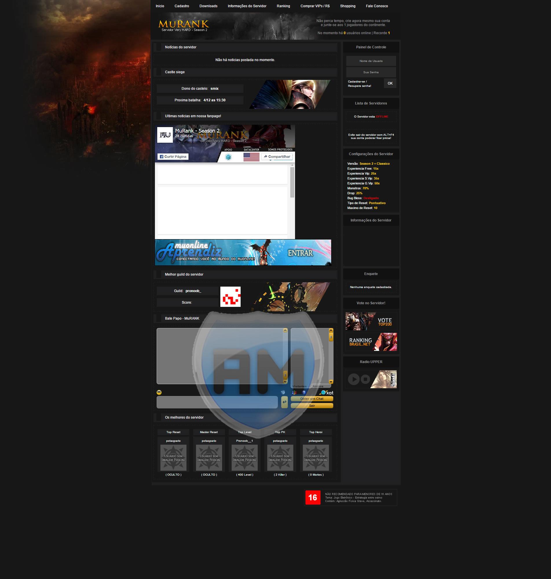 Web MuRank completa, Web para Mu Online atualizada, baixar gratis, criar mu online, servidor mu online br.
