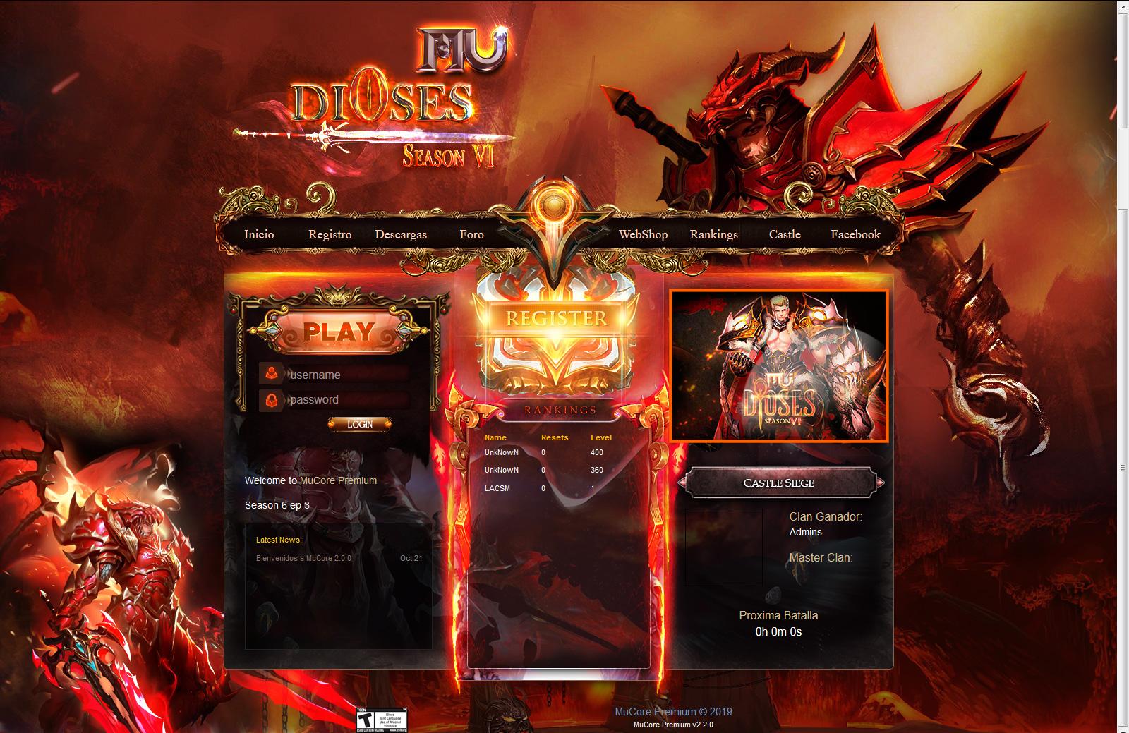Template Mu Core 2.2 [ Aion By Fantoma & MuGods ] Web para Mu Online pirata Atualizado MuCore 2.2 - Como criar servidor de mu online Season 14 - Participe do discord Galera MU.!