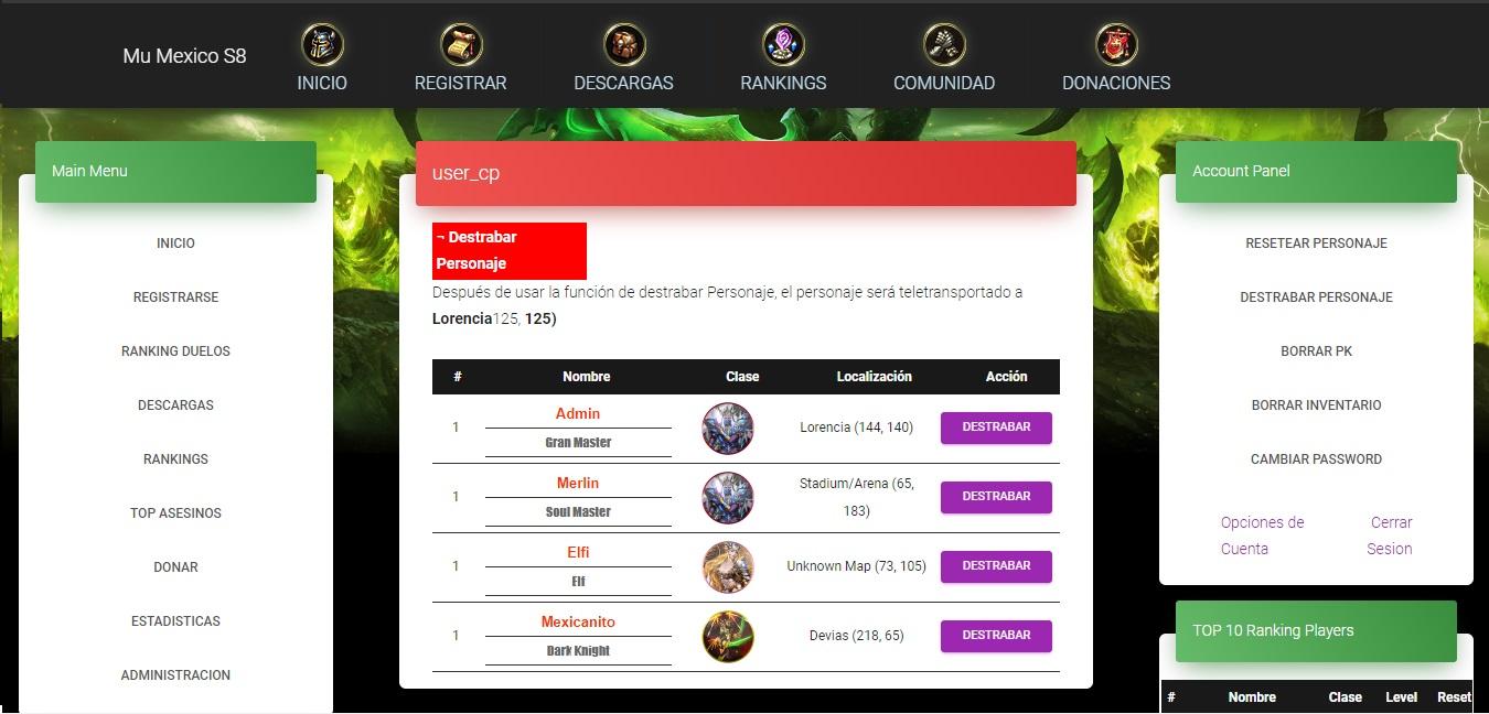 Baixar Web mucore 2.2.0 wartmoon premium  by takumi- Mu Mexico - completo - como criar servidor de mu online pirata atualizado, web mu online season 14 - forum ,participe do discord da galera mu