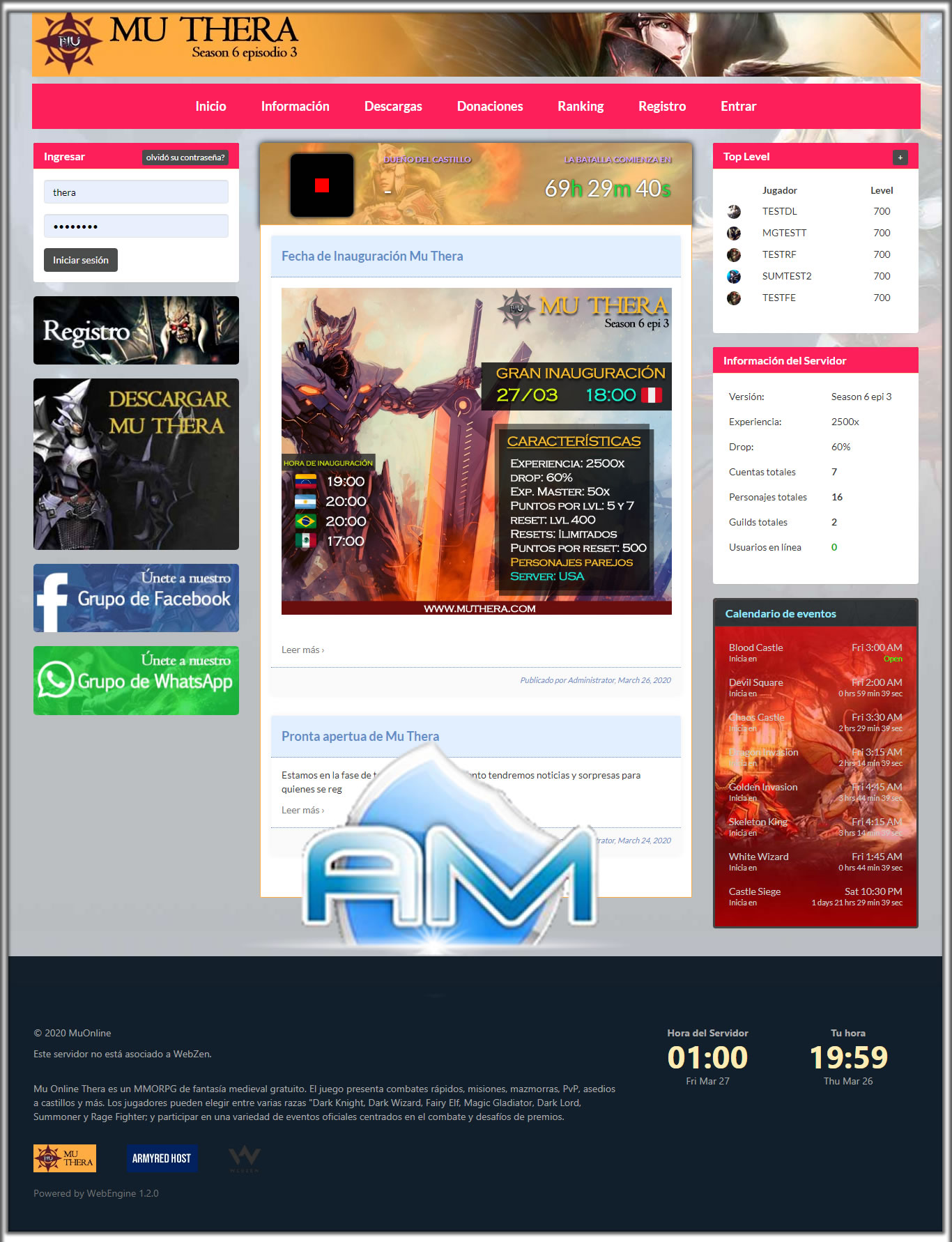 Baixar Web MuThera, Site para Mu Online, web compativel com mu online ate Season 14, web engine template 1.2.0