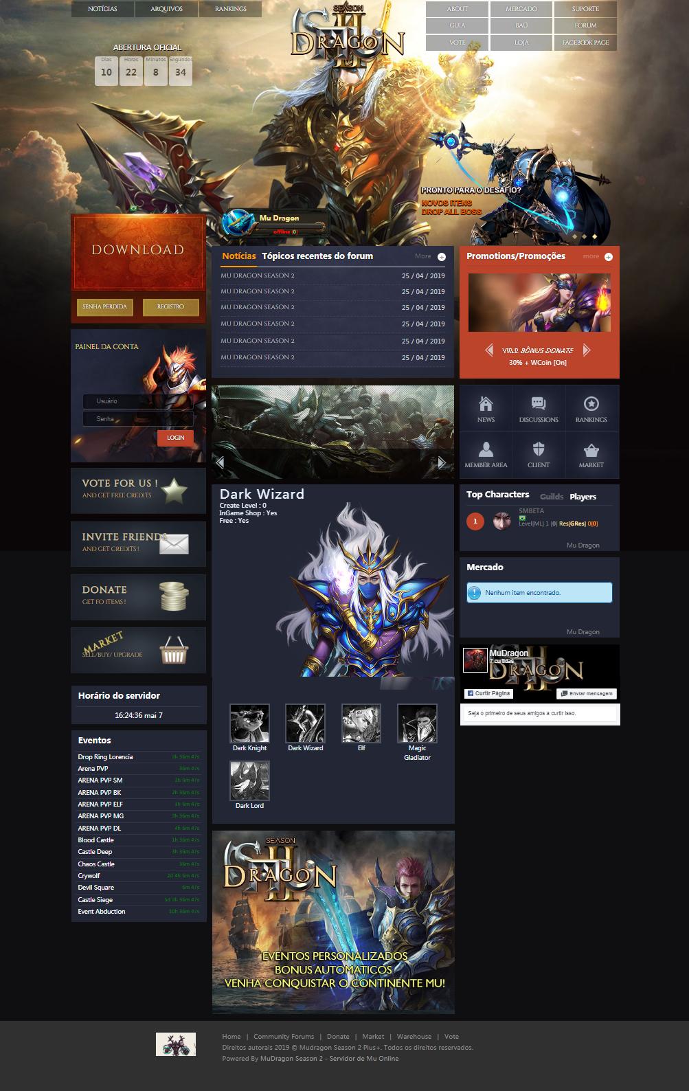 Web Mu Online DMN Mu Dragon atualizada 2019 - Modulos DMN - ModernDiv HttRequest - Como criar servidor de mu online season 14 atualizado, participe do discord Galera MU