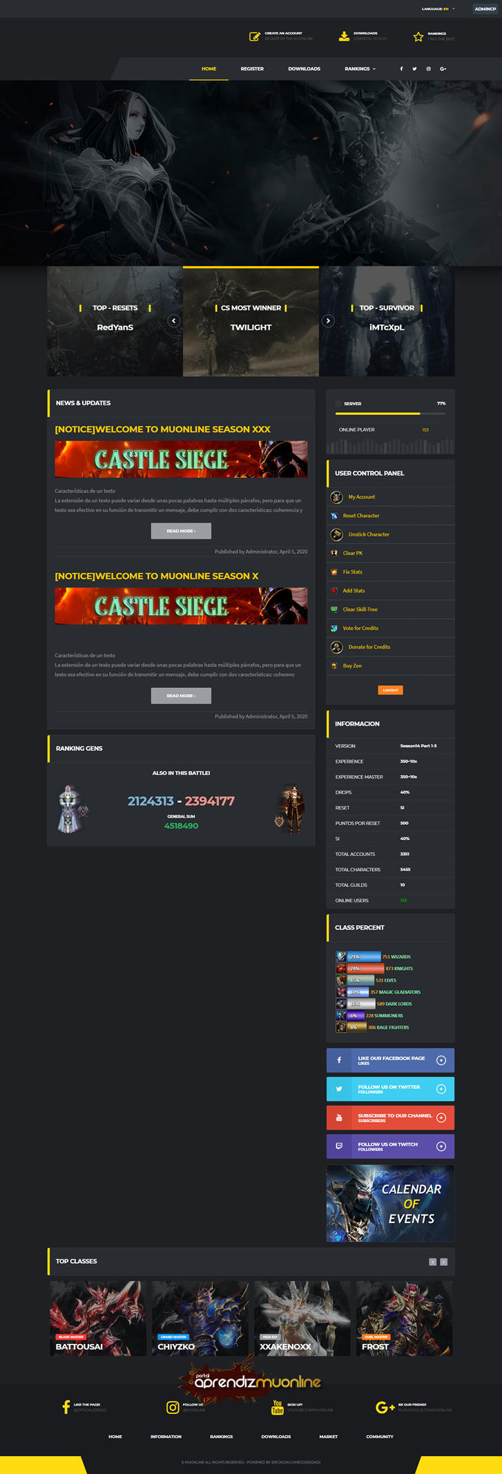 Baixar Web Dark Hero Season 16 Mu Online, Site para Mu Online, web compativel com mu online ate Season 16, web engine template 1.2.0, baixar web para mu online gratis