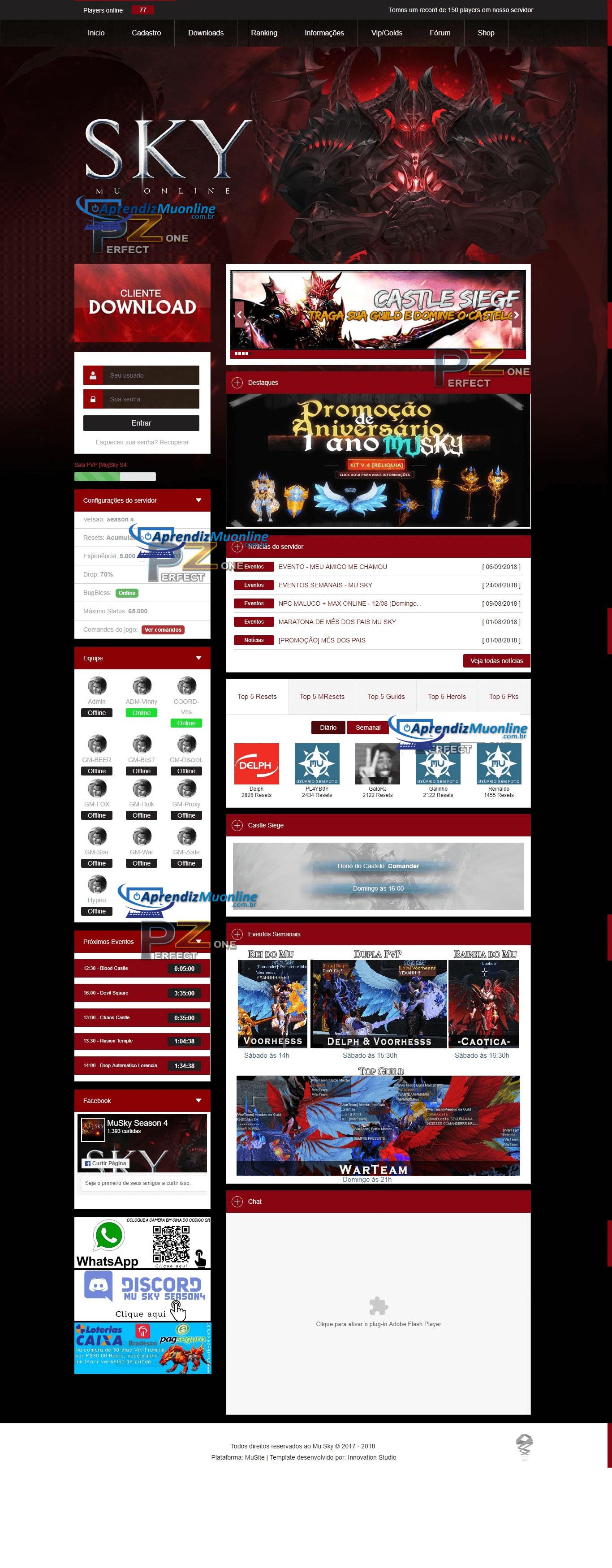 MuSky Template MuCore Brasil , Criar Mu Online, Criar Servidor pirata, meu muonlne, web site mu online server, portal de mu online.